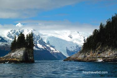 Leaving Cataract Cove and looking into Harris Bay and Northwestern Lagoon, Kenai Fjords National Park, Alaska