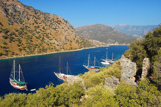 turkey-moored-yachts-near-fethiye